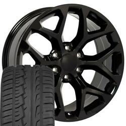 Fits 22x9 5668 Snowflake Wheels And Tires Fit Chevy Gmc Black Et24