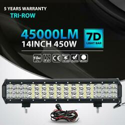 Tri-row 450w 14inch Led Light Bar Spot Flood Offroad Driving 4wd Truck Boat Ute