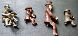 Collection Of 4 Original Vintage Early 20c Cast Iron Metal Drivers, Figures
