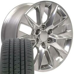 20x9 5920 Polished Wheel And Gy Tire Set Fit Gmc And Chevy 1500 Ltz Rims 20