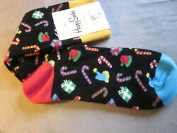 New $12. Tags NWT HAPPY SOCKS Christmas Gifts Canes Hats  Socks Shoe Size 8-12