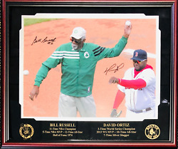 Bill Russell And David Ortiz Autographed Framed 16x20 Photo