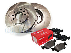 Grooved Front Bake Dics + Brembo Pads For Mitsubishi L 200 2.5 Di-d 4x4 2005-on