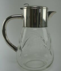 Vintage Big Cut Crystal Pitcher With Silver Top