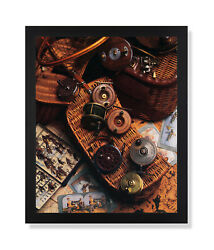 Old Fly Fishing Rod And Antique Reels Lures Wall Picture Black Framed Art Print