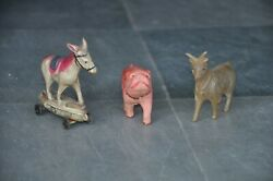 3 Pc Vintage Colorful Dog,donkey And Goat Celluloid Figurines , Japan