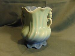 Antique Blue Vase 6 X 4 3/4 Weller Ruffle Edges Early 1940and039s Bud Pottery Art