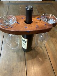 Texas Mesquite Wood With Royal Blue Inlay Two Wine Glass Holder And Display