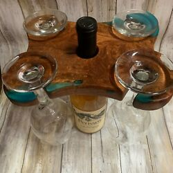 Texas Mesquite Wood With Turquoise Inlay Four Wine Glass Holder And Display