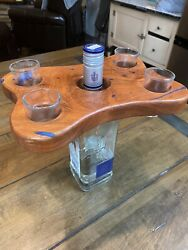 Texas Mesquite Wood And Royal Blue Inlay Four Shot Glass Holder And Display