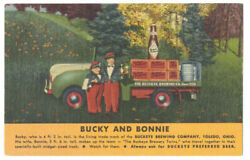 Midgets Bucky And Bonnie For Buckeye Beer And Truck - 1950 Linen Ad - Toledo Oh
