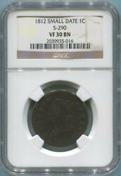 1812 Small Date Classic Head Large Cent. S-290 Ngc Vf30 Brown.