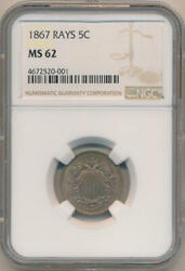 1867 Rays 5 Cents Shield Nickel, Ngc Ms62