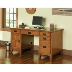 Arts And Crafts Cottage Oak Double Pedestal Desk By Home Styles