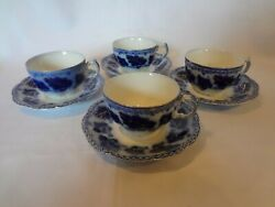 Johnson Brothers Normandy - Flow Blue - Set Of 4 Cups And Saucers