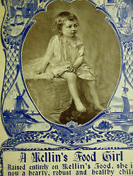 A. Mellin#x27;s Food Girl BOSTON BABY FOOD DOLIBER GOODALE CO. 1896 Print Ad Matted