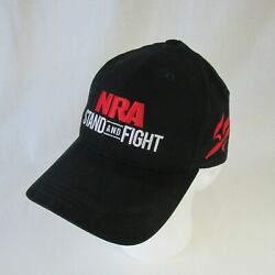 NRA Stand and Fight Black Baseball Cap Stylized Eagle Logo Embroidered Red USA