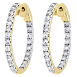 10k Yellow Gold Diamond In And Out Hoops Round Hinged Earrings 1.05 Long 2 Ct.