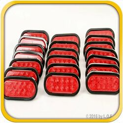 20 Red 6 Oval Trailer Truck Lights 10 Led Stop Turn Tail Sealed W Grommet Plug