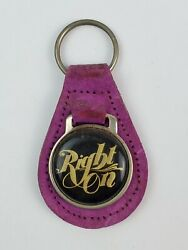 Vintage Right On 1970's Purple Leather Keychain Groovy Saying Hippie Woodstock
