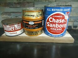 Vintage Coffee Tin Can Lot-chase And Sanborn-harmony Bay-butternut-kitchen Decor