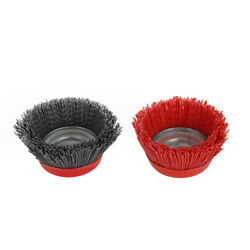 4 Cup Nylon Poly Abrasive Brush Grinding Wheel For Derusting 5/8 Bore 80 120