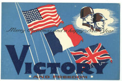 Great Wwii Merry Christmas Victory And Freedom Postcard Us France Uk Flags - Rare