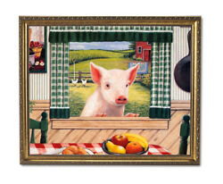 Country Pig Kitchen Window Folk Wall Picture Gold Framed Art Print