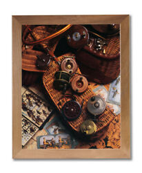 Old Fly Fishing Rod And Antique Reels Lures Wall Picture Honey Framed Art Print