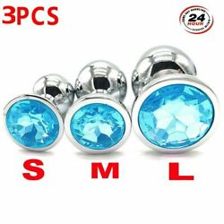 Blue 3pcsSet Stainless Steel Butt Toy Insert Plug Metal Jeweled Plated Stopper