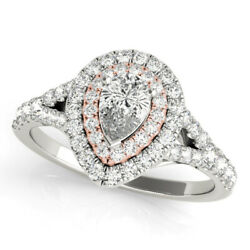 Ladies 14k Rose And White Gold Semi-mount Diamond Pear Cut Halo Engagement Ring