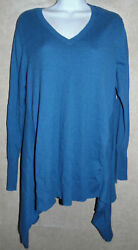 Cute Blue 5% Cashmere Knit Longer Sides Logo by Lori Goldstein LS Tunic - Large