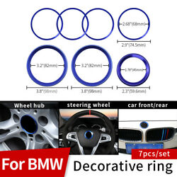7pcs Front Rear 82mm 82mm 45mm 68mm Wheel Covers Rings For Bmw Badge Emblem Blue