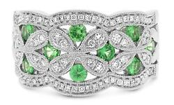 Wide 1.07ct Diamond And Aaa Tsavorite 14kt White Gold Flower Butterfly Love Ring