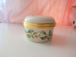 Vtg Lenox Green Holly Red Berries Hinged Trinket Boxes Gold Trim Super Gift Xmas