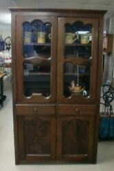 Vintage Country Flat Wall Cupboard Cabinet 2 Glass Doors Over 2 Drawers 2 Doors