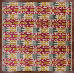 9' Square Hand Knotted Ikat Area Rug - P6071