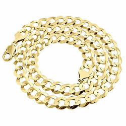 Real 10k Yellow Gold 11mm Chiseled Curb Cuban Link Style Chain Necklace 20-30