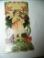 1930and039s Embossed Calendar Topper Victorian Girl In Flower Garden Made In Germany