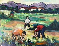 Field Workers With Mountains Expressionist Oil Painting-1960s-maxim Bugzester