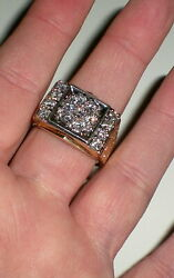 14k Yellow And White Gold Mens Diamond Ring - 11.9 Grams - Size 13.5