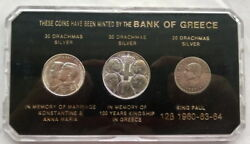 Greece 1960-1964 King Mint Set Of 3 Silver Coins