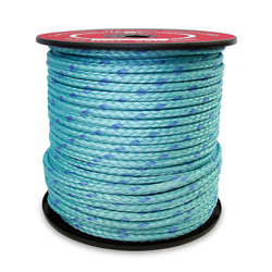 Cwc 12-strand Blue Steel Rope - 1/2 X 600and039 Teal W/dark Blue Tracer