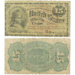 1869-1875 15c Fractional Note Fourth Issue Currency G Good