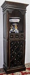 Antique Style Country French Solid Wood Liquor Wine Cabinet 3 Drawer Wine Rack