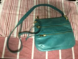 RARE Hobo Women#x27;s Everly Leather Crossbody Turquoise Purse CON52 $75.00