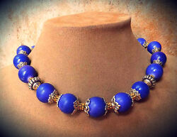 Purple Blue Violet Genuine Jade Gem Necklace Jewelry Gold And Silver Bali Beads