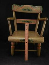 Antique Aafa Folk Art Hand Painted Childs Chairbucks Co. Pasigned Wedervgc