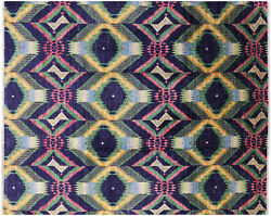 Ikat Hand Knotted Area Rug 8' 1 X 10' 2- P6361