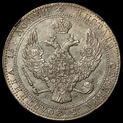 1840-mw Poland 5 Zlotych 3/4 Rouble Silver Coin - Ngc Au 53 - C 133 - Rare